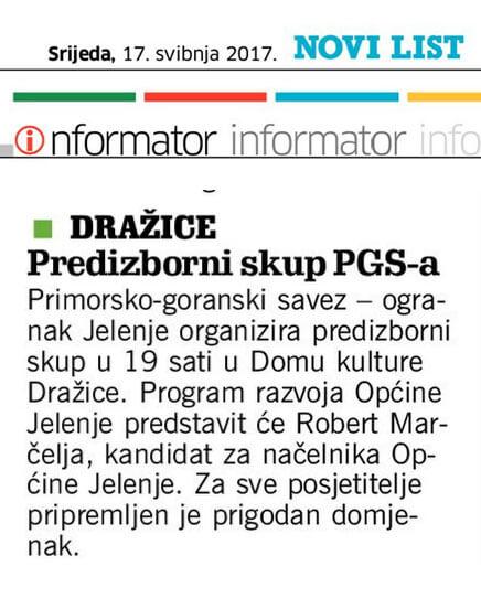 predizborni-skup - Održan predizborni skup PGS-a Jelenje u Domu kulture Dražice - Novosti